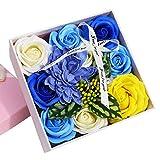 DAMAJIANGM Regalo de cumpleaños del día de San Valentín Rosa Flor de jabón Rosa Exquisita Caja de Flores pequeña Azul