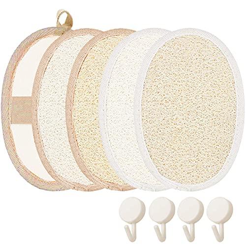 Acmerota 4 piezas de esponja exfoliante corporal exfoliante natural de lufa, almohadillas de lufa para exfoliación facial, esponjas corporales para exfoliar con 4 piezas de conexión