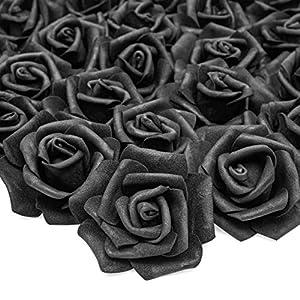 Bright Creations – Rosas artificiales para decoración (100 unidades), color negro