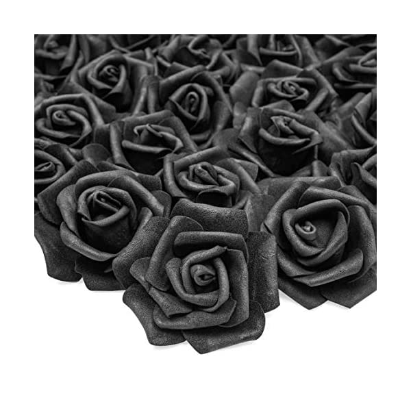 Bright Creations Rosas artificiales para decoración (negro, 100 unidades)