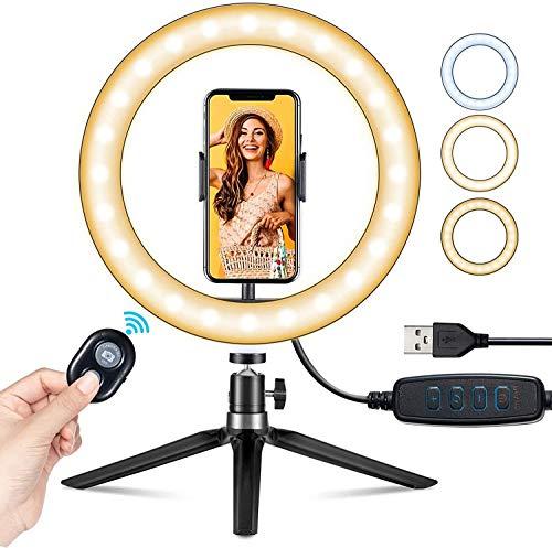 "VicTsing Ring Light Telefono LED, Luce per Selfie, Ring Light Tiktok 10"" (25.4 cm) per YouTube, Desktop con Treppiede a 360°, iPhone Holder, 3 Modalità&10 Luminosità, Makeup, Selfie, Zoom Meeting ecc"