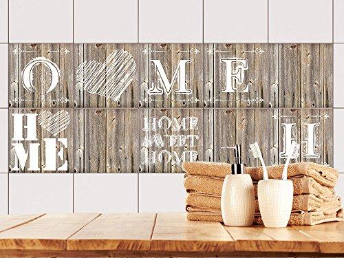 GRAZDesign 770503_10x10_FS10st Fliesenaufkleber Holz Home Sweet Home für Bad oder Küche | alte Küchen-Fliesen überkleben | Fliesenbild selbst gestalten (10x10cm // Set 10 Stück)