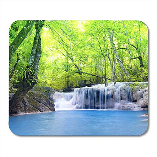 Gaming Mouse Pad Blue Amazing Erawan Waterfall in Thailand Beautiful Nature Green 25*30cm Decor Office Nonslip Rubber Backing Mousepad Mouse Mat