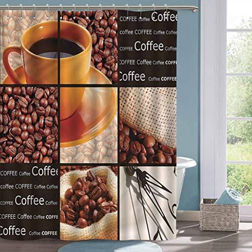 Faith Shower Curtain Coffee Hot Beverage Orange Cup Waterproof Bathtub Curtain W63 xL72