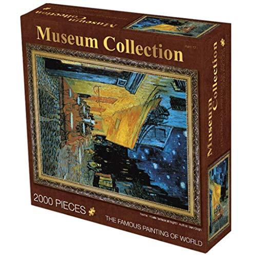 Clásico juego de rompecabezas Terraza del café en la noche de Van Gogh- Calidad Rompecabezas 2000 Piezas for adultos papel de arte Juegos de Puzzles Robusto y fácil