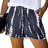 Pantalones Cortos Informales con Personalidad Tie Dye con cordón, Cintura elástica, Pantalones Sueltos de Pierna Ancha para Exteriores y Vacaciones 4X-Large