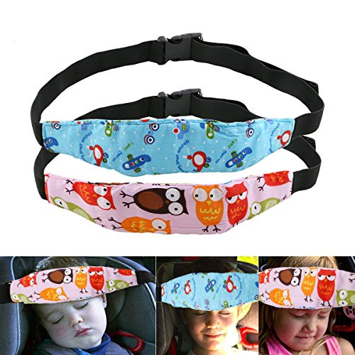 URAQT 2Pcs Cinturino Supporto Testa Bambini, Bambino Cinturino Auto Sicurezza, Dormire Cintura di Sicurezza per Seggiolino Auto per Bambino e Neonato