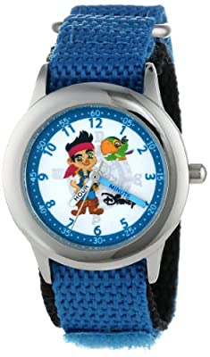"""Disney Kids' W000383 """"Time Teacher"""" Jake the Pirate Stainless Steel Watch with Blue Strap"""