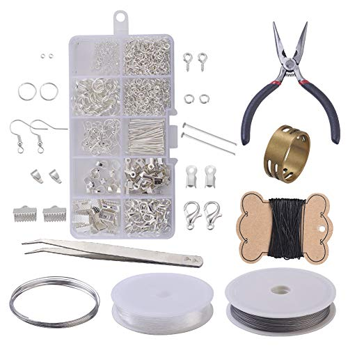 Jewellery Making Kit for Adults, Silver Jewllery Findings Including Lobster Clasps, Jump Rings, Earring Hooks, Jewellery Pliers, Beading Wire for Crafts DIY
