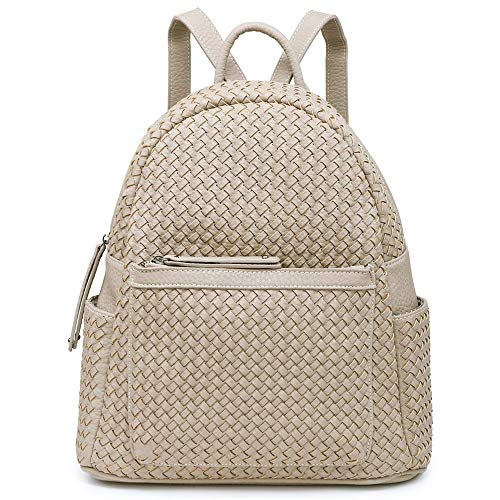 Women Backpack Purse Woven Trendy Stylish Casual Dayback Handbag (small camel)