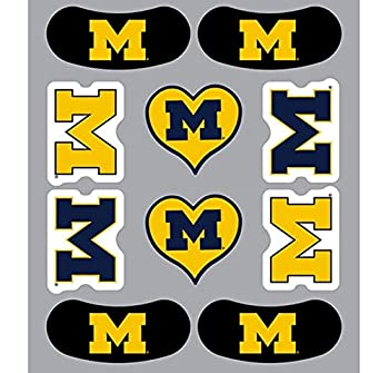 University of Michigan  U of M  Wolverines – Waterless Peel & Stick Temporary Tattoos – 10-Piece Combo -6 Spirit Tattoos & 4 Eye Strips