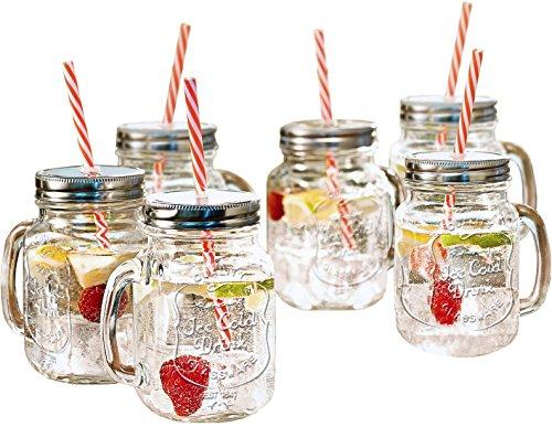 Estilo Mason Jar Mugs with Handle and Straws Old Fashioned Drinking Glass Set 6, 16 oz Each