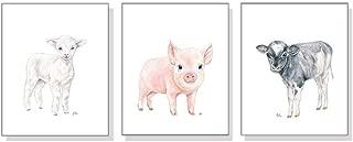 Farm Nursery Decor Unframed, Farm Nursery Wall Art Prints Set of 3, Pick Your Original Baby Animal Watercolors, Kids Childs Room Lamb Pig Cow Art