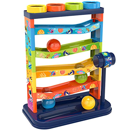 LOYALSE Pound a Ball Toy for Toddlers Boys and Girls, Hammer and Ball Toys with Ramp Tower Multicolored Balls, STEM Developmental Educational Fun Learning Toy, Best Birthday Gifts