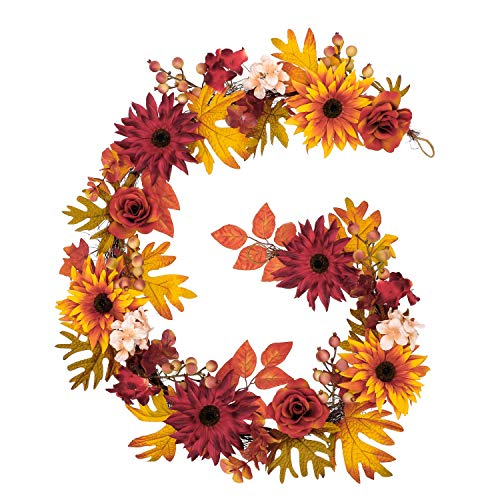 Valery Madelyn 6 Feet Fall Garland Decorations with Maple Leaves Sunflowers Hydrangea, Artificial Autumn Thanksgiving Hanging Vine Garland for Mantle Outdoor Front Door Home Wedding Party Fireplace