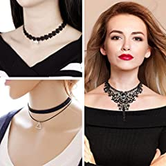 Rovtop 15 Pieces Choker Necklace for Women Girls, Black Classic Velvet Stretch Gothic Tattoo Lace #2
