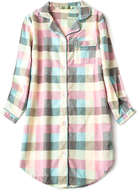 ENJOYNIGHT Women's Sleep Shirt Flannel Print Pajama Top ButtonFront Nightshirt Sleepwear