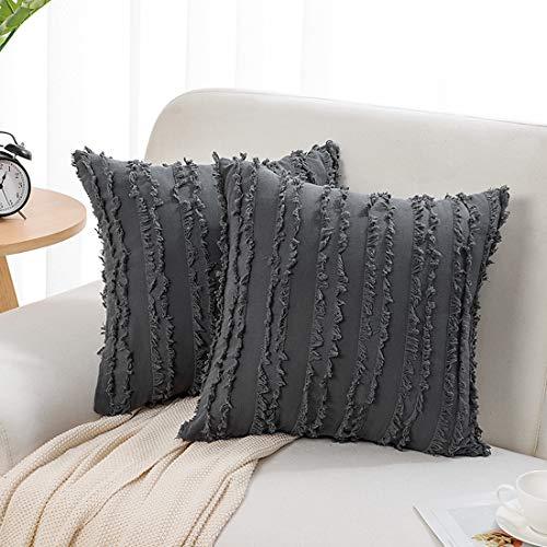 PiccoCasa - Set di due federe per cuscini, stile boho, in cotone e lino, motivo jacquard, per divano, letto, decorazione per la casa 50x50cm/20'x20' Grigio scuro