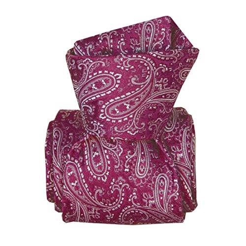 Segni et Disegni. Cravate classique. DENVER, Soie. Violet, Paisley. Fabriqué en Italie.