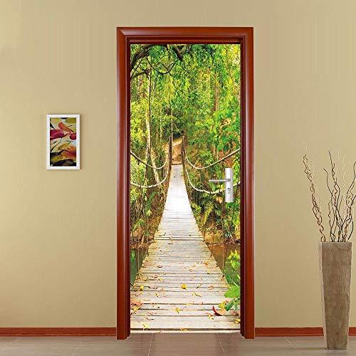 BXZGDJY Deurbehang, zelfklevend, zelfklevend, deurposters, zelfklevend, 3D-deur-raam-behang, verwijderbare deur-decoratie-plakfolie voor doe-het-zelf interieur, 80X200CM
