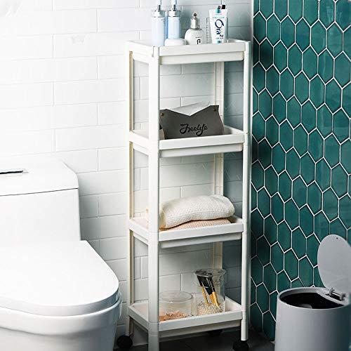 Arkmiido Etagère de Rangement à 4 Niveaux, Etagère Utilitaire avec Crochets, étagères Debout pour Cuisine Salle de Bain Salon Chambre Buanderie