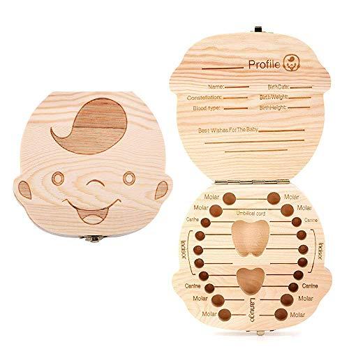 Sierra - Caja para guardar los dientes de leche de los recién nacidos, de madera de pino con olor agradable (niño).