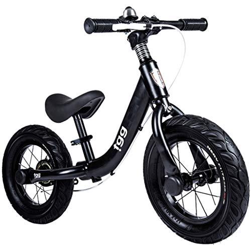 ZAQ Prima Bicicletta Bici Senza Pedali Bicicletta Bici da 36 cm (14 Pollici) - Bici da Allenamento per Bambini Senza Pedali con Freno a Mano, 4 5 6 7 8 Year Old Girl Boy Birthday Gift (Colore : Nero)