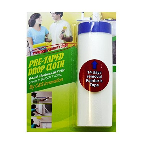 C&S Pretaped Drop Cloth 48 in x 75 ft with 18mm Blue Masking Tape