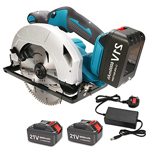 WFCC Cordless Circular Saw, 21V Electric Wood Cutting Tool Set with 6.0Ah Li-ion 2 Batteries, Charger, 180mm Blade, 5800RPM Electric Saw for Wood, Plastic, Soft Metal