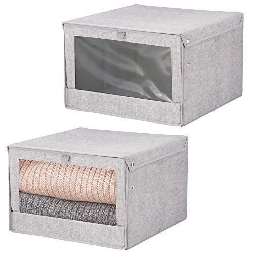 mDesign - Opbergboxen - bergruimte voor kledingkast - voor slaapkamer en babykamer - groot/met deksel en zichtvenster/stof/kubusvormig - grijs - per 2 stuks verpakt
