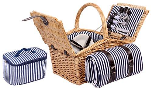 Sell-tex 4 Personen Weiden Picknickkorb Picknickkoffer Besteck, Wein Gläser, Teller (Braun)