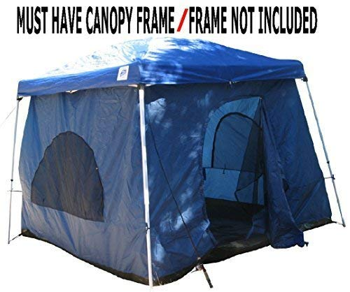 The Original-Authentic Standing Room 64 Family Cabin Tent 8.5 FEET OF HEADROOM 2 Big Screen Doors Fast Easy Set Up, fits most 10x10 SLANT leg canopies CANOPY FRAME NOT INCLUDED!