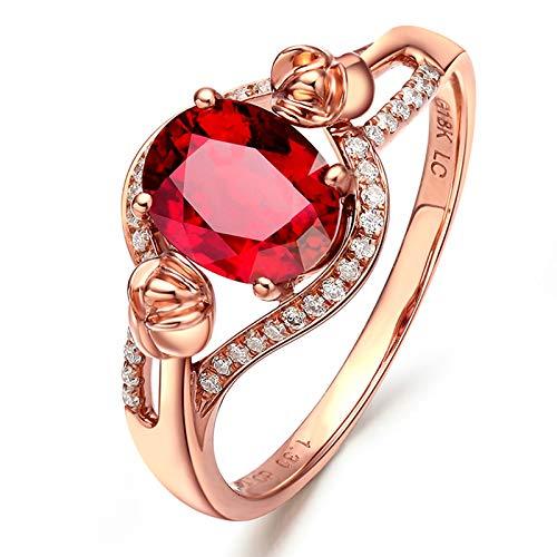 KnSam Bague Femme Fine Rose Tourmaline Rouge Naturelle 1.3ct, Or Rose 18 Carats Élégance Cadeau Noël