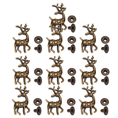 Healifty 10 Sets Sew on Snap Buttons Metal Snap Fasteners Press Studs Buttons with Christmas Reindeer Base for Sewing Clothing Leather Jackets DIY Crafts