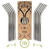 Nature Nerds - Pajillas de Acero Inoxidable Reutilizables - Pajillas - Pitillos para Beber (10 Piezas + Cepillo de Limpieza) - empaquetado sin plástico