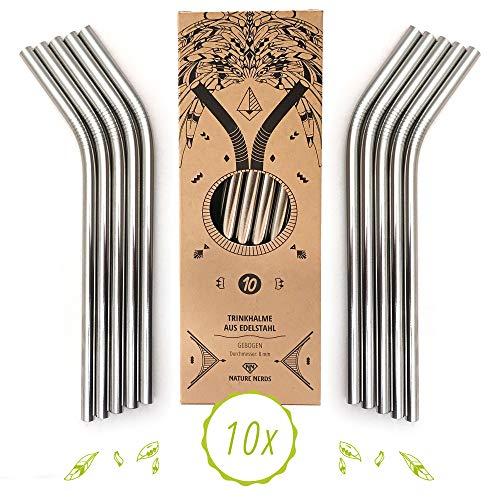 Nature Nerds - Wiederverwendbare Edelstahl Trinkhalme - Strohhalme - Trinkröhrchen (10 Stück + Reinigungsbürste) - plastikfrei verpackt (gebogen)