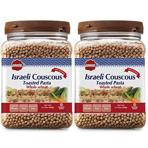 Baron's Kosher Israeli Couscous Toasted Pasta 21.16-ounce Jar - Pack of 2 - (Whole Wheat Israeli Couscous)