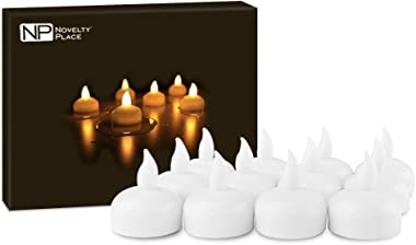 Novelty Place LED Floating Candles, Flameless Tea Lights Warm Yellow Battery Operated - Waterproof Decoration for Wedding, Th