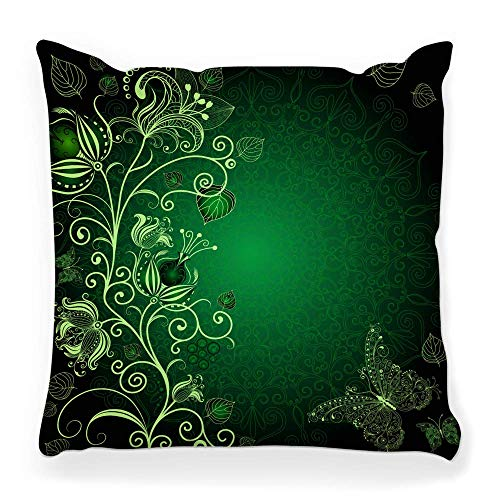 Fantastic Fairy Soft Square Pillow Cover 20x20 Green Floral Frame Flower Butterfly Star Wedding Black Border Calligraphy Round Vintage Yellow