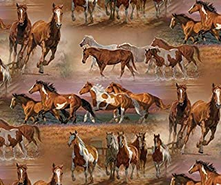 Horses in The Field Cotton Fabric by The Yard