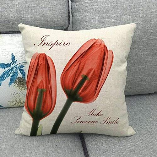 LPLH Funda de cojín Caliente de la Funda de Almohada de la Serie de Lino de tulipán Transparente de Rayos X 005-9_45 * 45cm