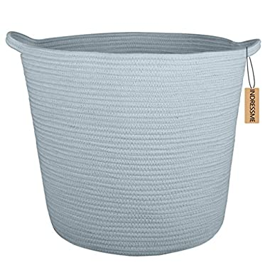 INDRESSME 16.0 x 15.0 x12.6  XL Baby Laundry Woven Storage Baskets Cotton Rope Basket Basket Blanket Basket with Handle Toy Bakset Home Decor Addition, Blue Grey