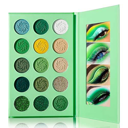 DE'LANCI palette de maquillage vert 15 couleurs chatoyant et palette de fards à paupières mat, facile à colorier Durable, imperméable, hautement pigmenté