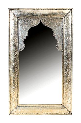Orient Spiegel Wandspiegel Hafza 100cm groß Silber | Großer Marokkanischer Flurspiegel mit Holzrahmen orientalisch verziert | Orientalischer Vintage Badspiegel ohne Beleuchtung als Orientalische Deko
