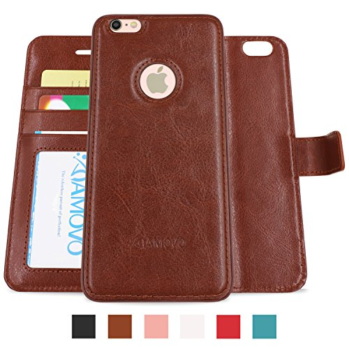 AMOVO Case for iPhone 6 [2 in 1], Vegan Leather 2 in 1 Folio Detachable Wallet Case with Box for iPhone 6/iPhone 6s case (iPhone 6/6s (4.7'') Brown)