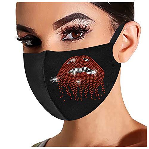 UOWEG 1 Stück Glänzend Strass Mundschutz mit Motiv Diamant Print Maske Waschbar Wiederverwendbar Stoffmaske Baumwolle Mund-Nasen Bedeckung Atmungsaktiv Multifunktionstuch Halstuch Schals für Damen