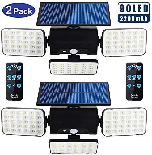 Derlights - Luci solari per esterni, 90 LED, super luminose, con sensore di movimento, 3 teste regolabili e pannello solare, impermeabile IP65, con telecomando, confezione da 2