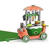 DQTYE Kinderküche Kochgeschirr Spielwagen Spielzeug Kinder geben vor, Kochzubehör mit Kunststoff Obst Lebensmittelform pädagogisches Rollenspiel für Mädchen Jungen zu setzen