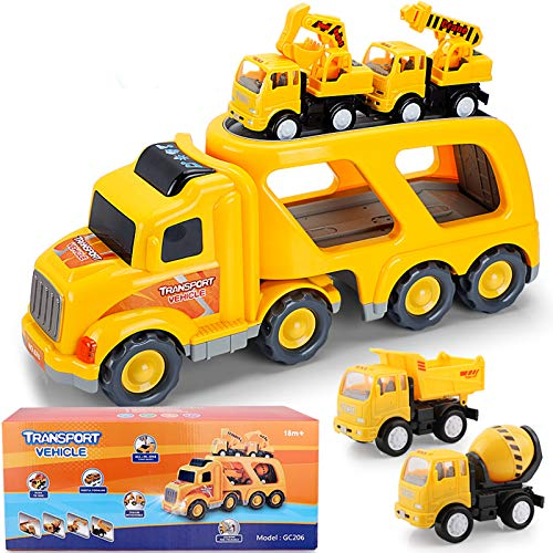 Construction Truck Toys for 1 2 3 4 Years Old Toddlers Child Kids Boys, Cars Toys Set, Play Vehicles with Sound and Light, Engineering Playset, Gift Set of Small Crane Mixer Dump Excavator Toy