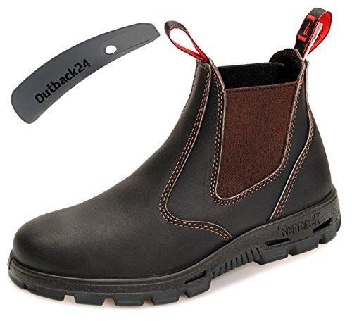 RedbacK BUBOK Work Boots Arbeitsschuhe aus Australien Unisex - Claret Brown - mit schwarzer Sohle + Schuhlöffel (UK 10.5 / EU 45.0)